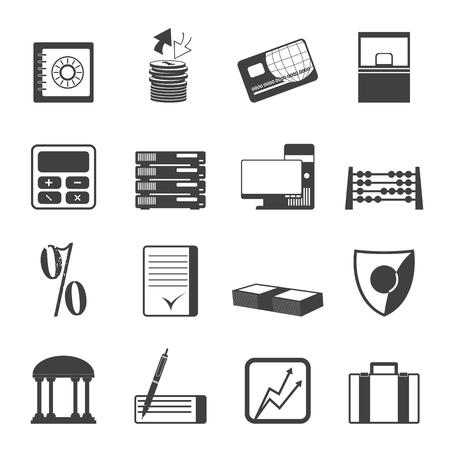 Silhouette bank, business, finance and office icons vector icon set Vector