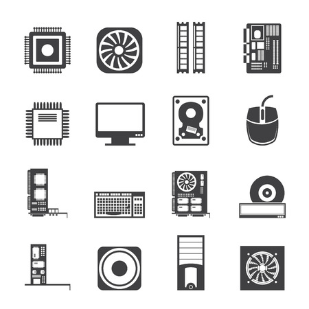 mainboard: Silhouette Computer  performance and equipment icons - vector icon set