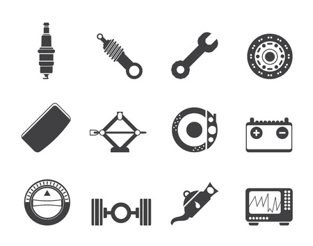 shock absorber: Silhouette Realistic Car Parts and Services icons - Vector Icon Set 1
