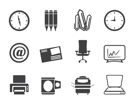 Silhouette Business and Office tools icons  vector icon set Illustration