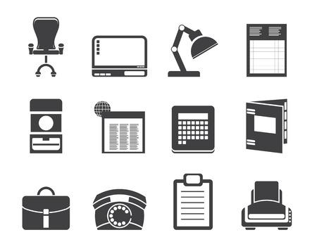 fermo: Silhouette Simple Business, l'ufficio e le icone ferme - vector icon set Vettoriali
