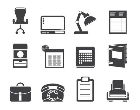 Silhouette Simple Business, office and firm icons - vector icon set Vector