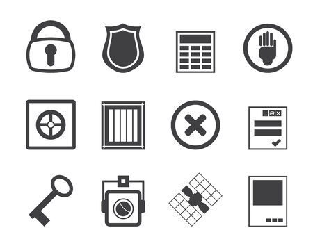 bar codes: Silhouette Simple Security and Business icons - vector  icon set