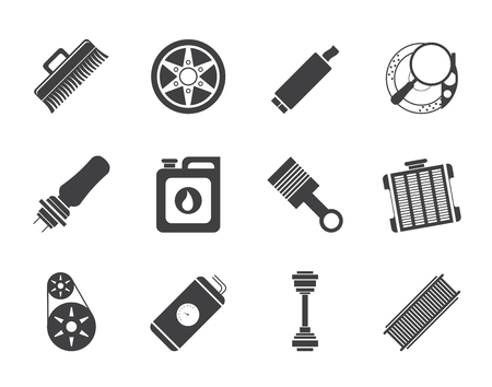shaft: Silhouette Realistic Car Parts and Services icons - Vector Icon Set 2