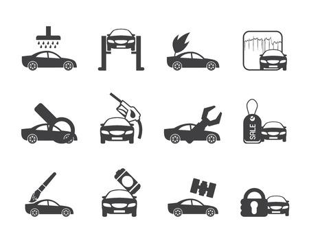 overhaul: Icona di auto Silhouette e di servizio automobilistico - vector icon set