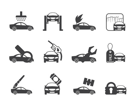 overhaul: Silhouette car and automobile service icon - vector icon set