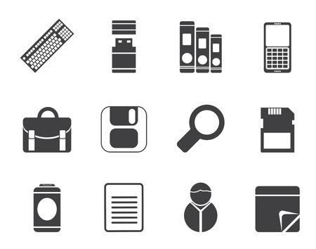 Silhouette Business and Office tools icons - vector icon set 3 Vector