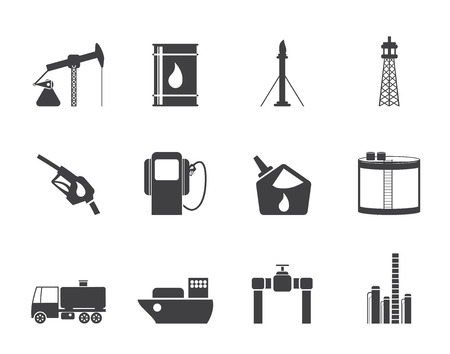drilling rig: Silhouette Oil and petrol industry icons - vector icon set