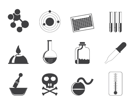 Silhouette Chemistry industry icons - vector icon set Vector