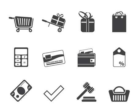 pocket book: Silhouette Online shop icons - vector  icon set Illustration