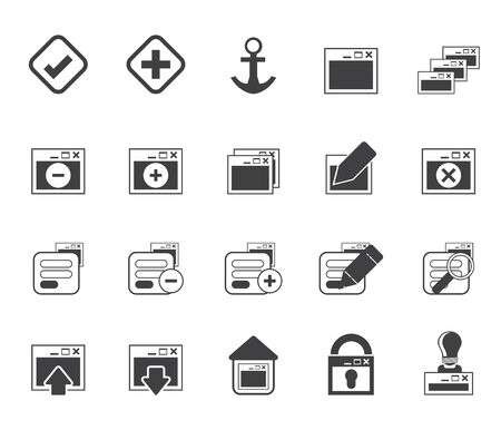 Silhouette Application, Programming, Server and computer icons vector Icon Set 1 Vector