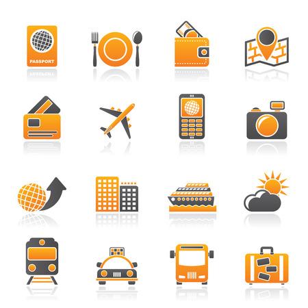 facture restaurant: ic�nes voyage, de transport et de vacances - vecteur ic�ne ensemble Illustration