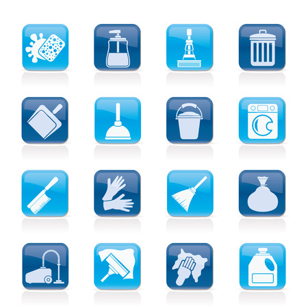 vacuuming: Cleaning and hygiene icons - vector icon set