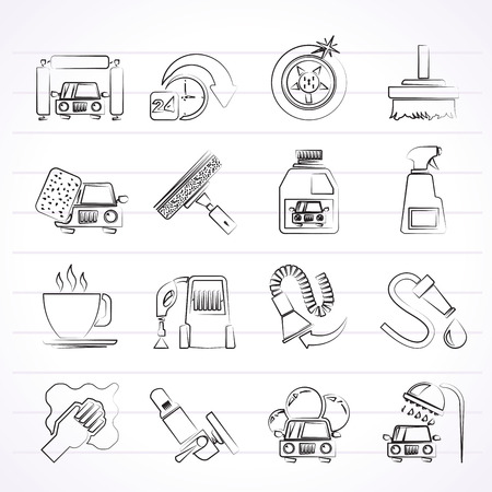 car wash objects and icons - vector icon set Vector