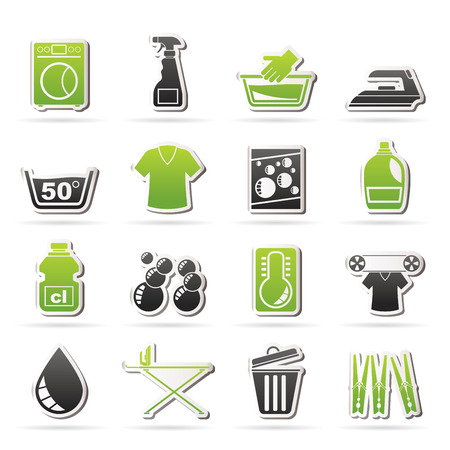 Washing machine and laundry icons - vector icon set Vector