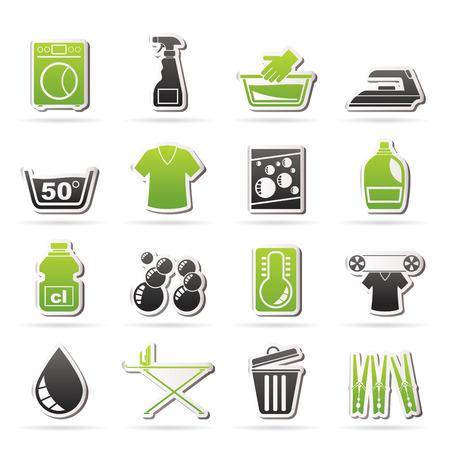 washing powder: Washing machine and laundry icons - vector icon set