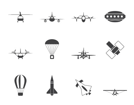 Silhouette different types of Aircraft Illustrations and icons - Vector icon set 2 Vector