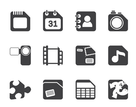 Silhouette Mobile Phone, Computer and Internet Icons - Vector Icon Set Vector