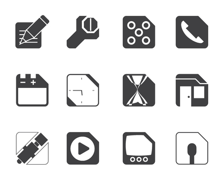 Silhouette Mobile Phone, Computer and Internet Icons - Vector Icon Set 2 Vector