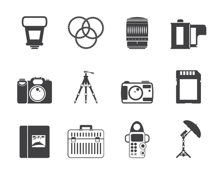 photography icon: Silhouette Photography equipment icons - vector icon set