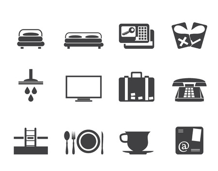 Silhouette Hotel and motel icons  - Vector icon Set Vector