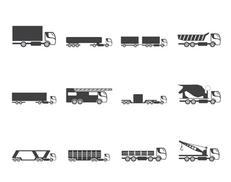 different types: Silhouette different types of trucks and lorries icons - Vector icon set