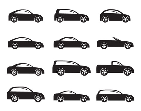 combi: Silhouette different types of cars icons - Vector icon set Illustration