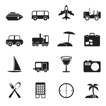 holiday icons: Silhouette Travel, transportation, tourism and holiday icons - vector icon set Illustration