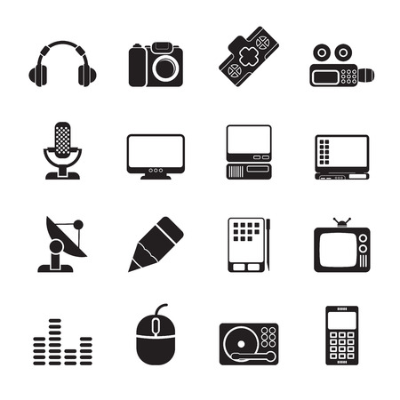 Silhouette Media equipment icons - vector icon set Vector