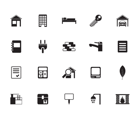 Silhouette Real Estate and building icons - Vector Icon Set Vector
