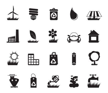 Silhouette Ecology and nature icons - vector icon set Vector