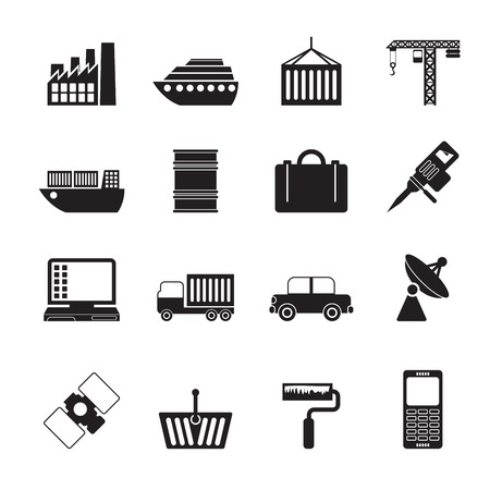 mine site: Silhouette Industry and Business icons - vector icon set