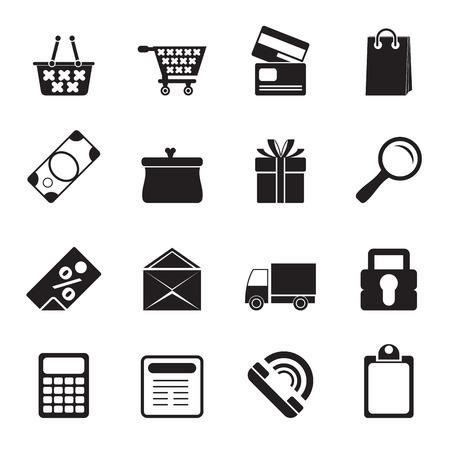 gift basket: Silhouette Online shop icons - vector  icon set Illustration