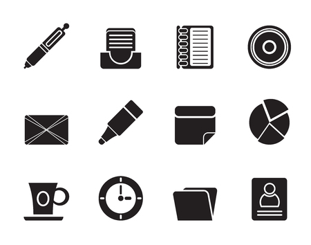 Silhouette Office   Business Icons - Vector icon Set Stock Vector - 25211089
