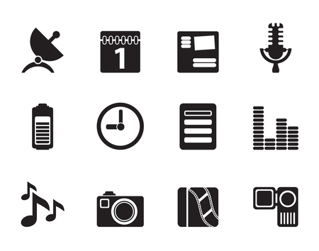 Silhouette Mobile phone performance icons - vector icon set Vector