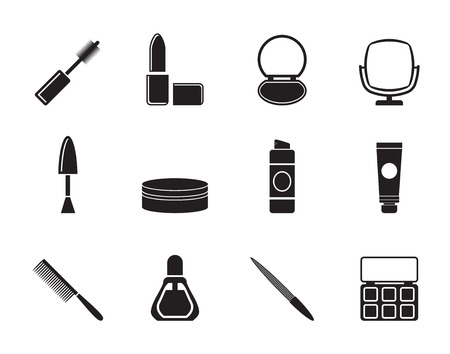 Silhouette cosmetic and make up icons - vector icon set  Vector