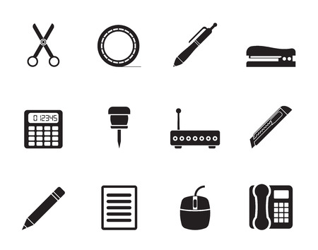 staplers: Silhouette Business and Office icons - vector icon set Illustration