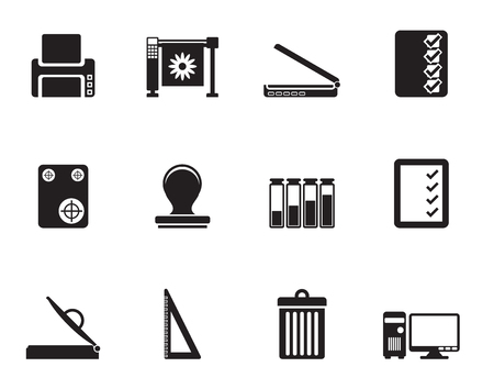 guillotine: Silhouette Print industry Icons - Vector icon set