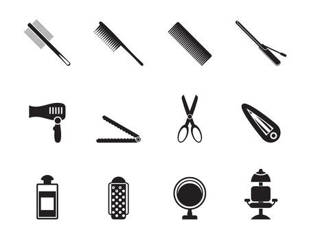 peluqueria: Silueta de peluquería, peinado y maquillaje iconos - vector icon set Vectores