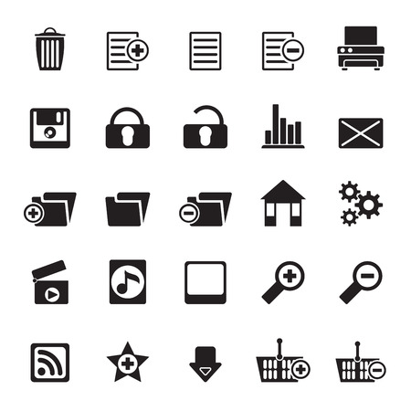 Silhouette 25 Detailed Internet Icons - Vector Icon Set