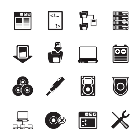 person on computer: Silhouette Server Side Computer icons - Vector Icon Set