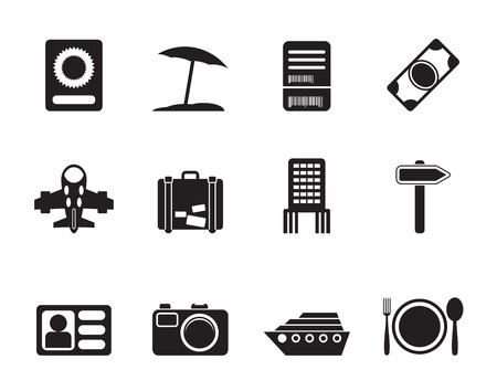 holiday icons: Silhouette travel, trip and holiday icons - vector icon set Illustration