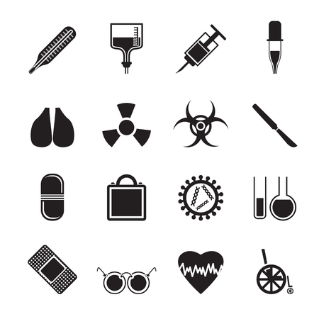 toxic substances: Silhouette collection of  medical themed icons and warning-signs vector icon set