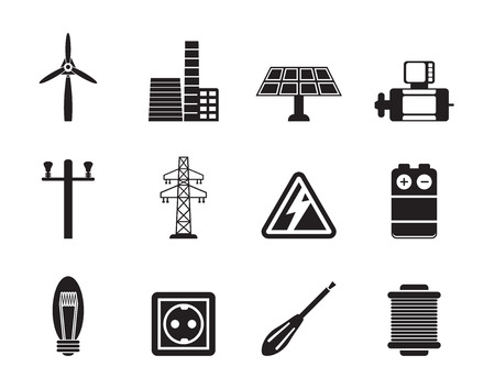 turn screw: Silhouette Electricity and power icons - vector icon set