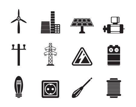 turbina de vapor: Silueta iconos de electricidad y energía - vector icon set Vectores