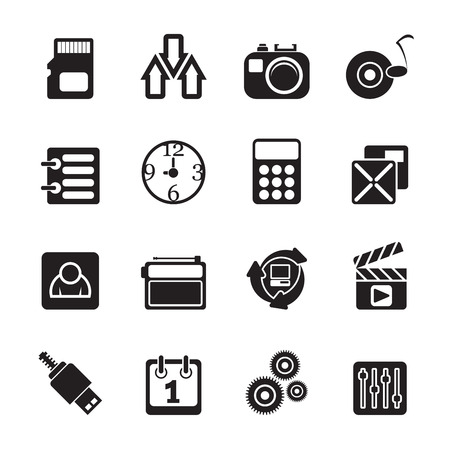 Silhouette phone  performance, internet and office icons - vector icon set Vector