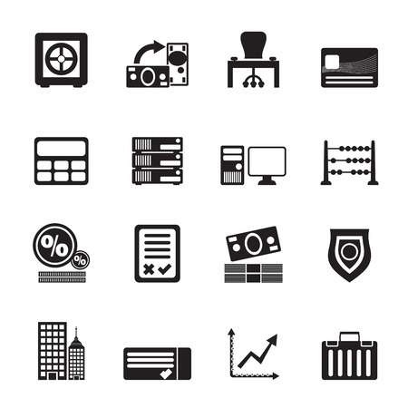 valise: Silhouette bank, business, finance and office icons - vector icon set Illustration