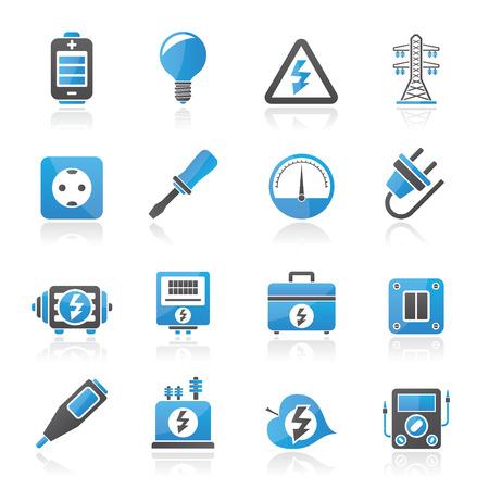 hoogspanningsmasten: Elektriciteit, kracht en energie pictogrammen - vector icon set Stock Illustratie