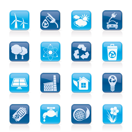 Ecology, environment and recycling icons - vector icon set Stock Vector - 25211111
