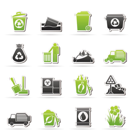 Garbage and rubbish icons - vector icon set Illustration
